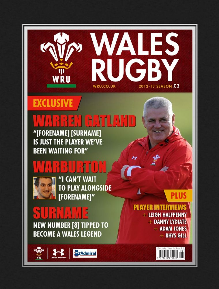 Personalised Official Wales Rugby Magazine Front Cover